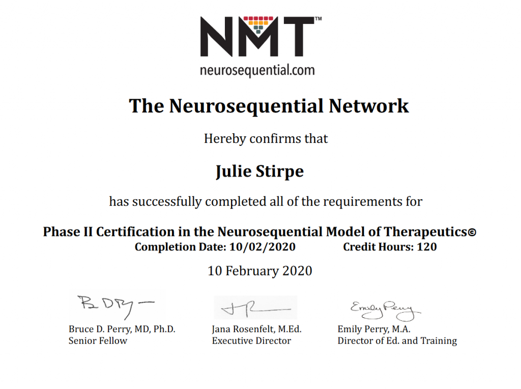 NMT certificate for Julie Stirpe